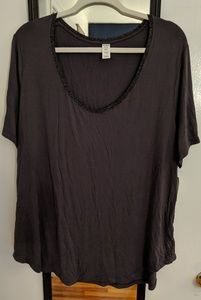 Old Navy Luxe Gray Tee with Metallic Trim